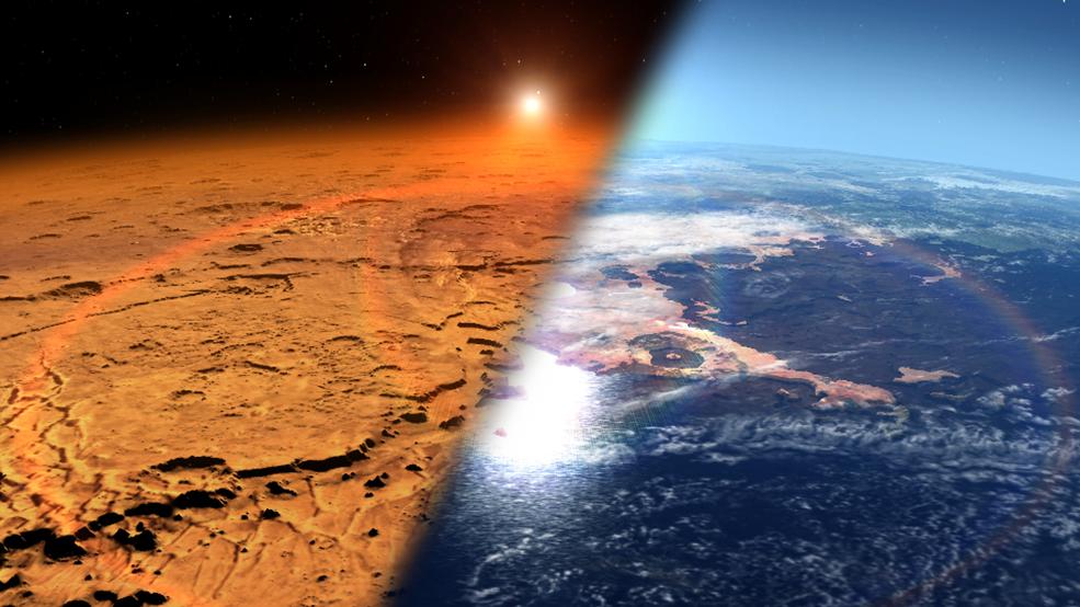 Imagen conceptual que muestra el ambiente marciano primitivo (derecha), que se cree que contenía agua líquida y una atmósfera más gruesa - frente alambiente frio y seco que vemos actualmente en Marte (izquierda). Crédito: NASA's Goddard Space Flight Center.