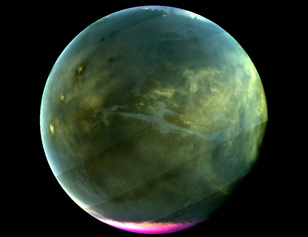green mars with pink poles