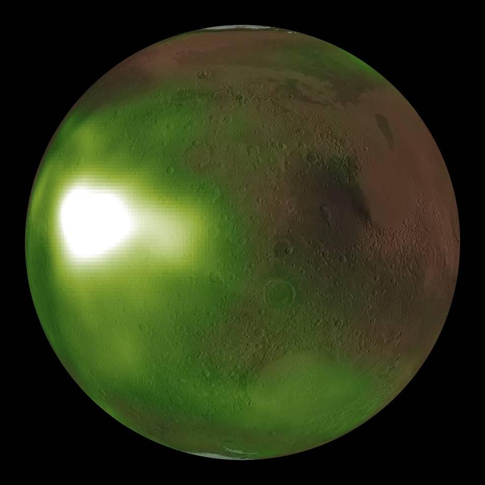 La misión MAVEN de la NASA observa el cielo nocturno marciano en luz ultravioleta.