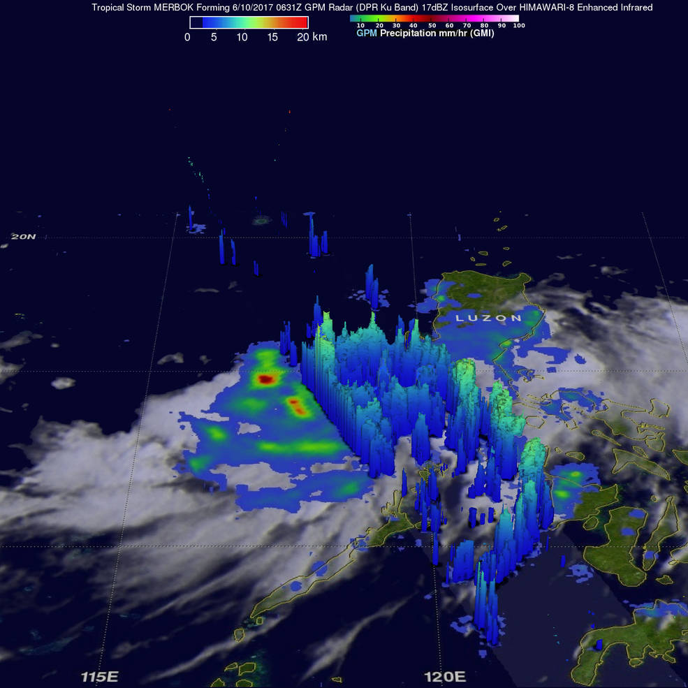 GPM 3-D image of rain band structure in Merbok