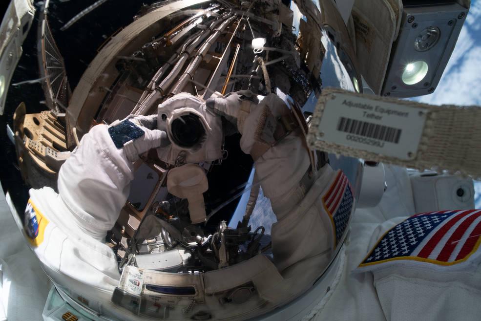"NASA astronaut Jessica Meir takes a ""space-selfie."""