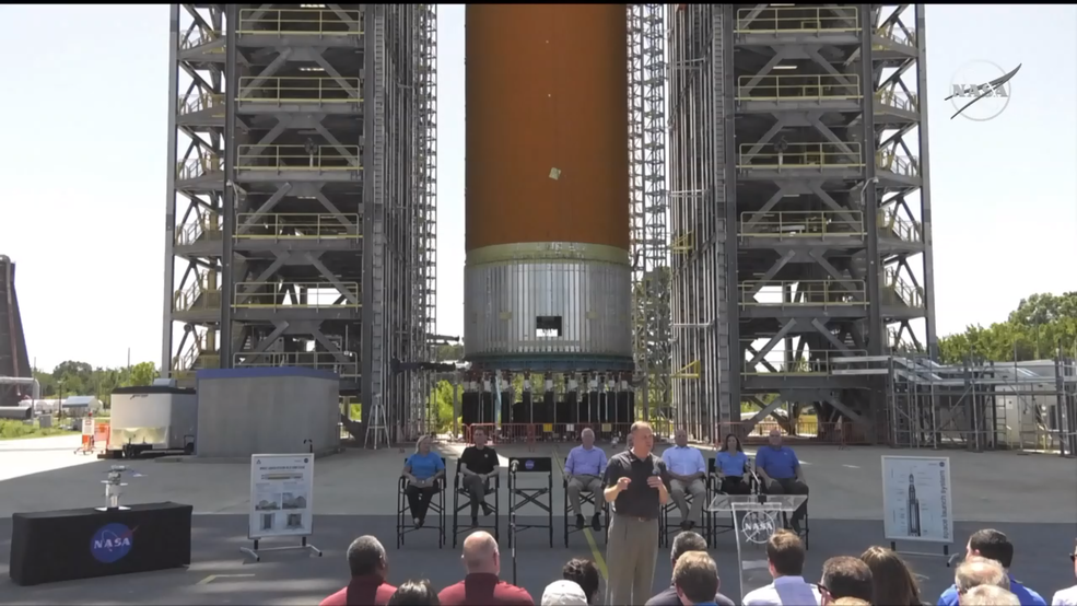 On Aug. 16, 2019, NASA Administrator Jim Bridenstine at the agency's Marshall Space Flight Center in Huntsville, Alabama,