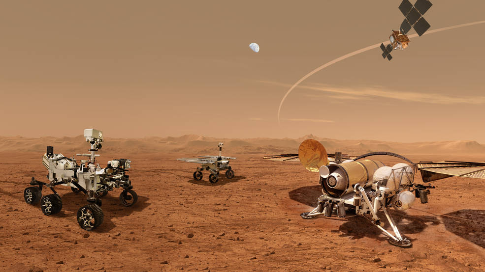 This illustration shows a concept for a set of future robots working together to ferry back samples from the surface of Mars collected by NASA's Perseverance rover.