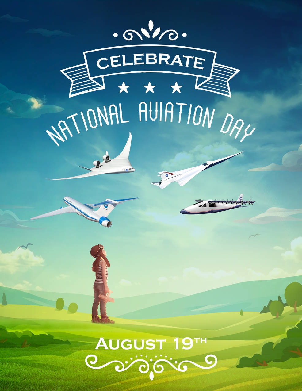 National Aviation Day 2016 illustration, showing a little girl looking up into the sky at possible future aircraft.