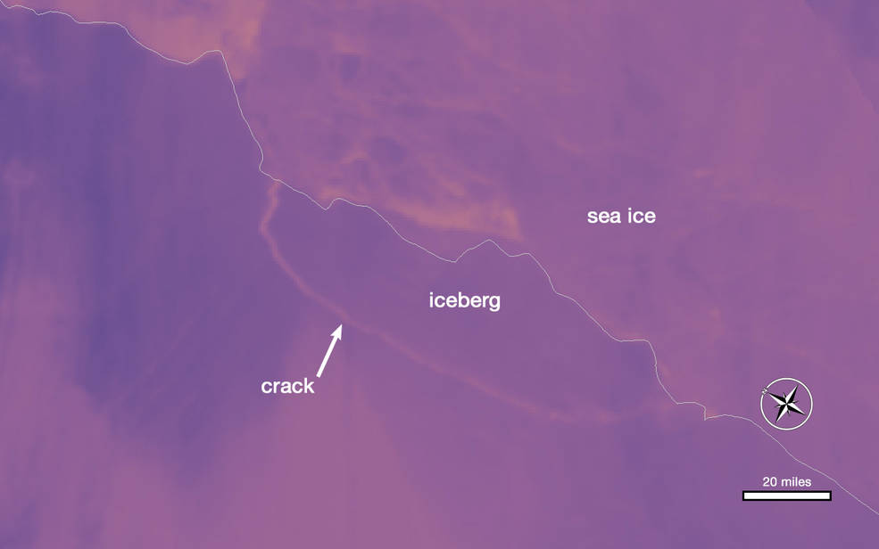 thermal image of Larsen C ice shelf and iceberg