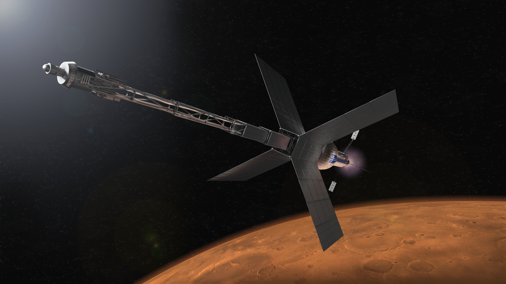 Illustration of a Mars transit habitat and nuclear propulsion system that could one day take astronauts to Mars.