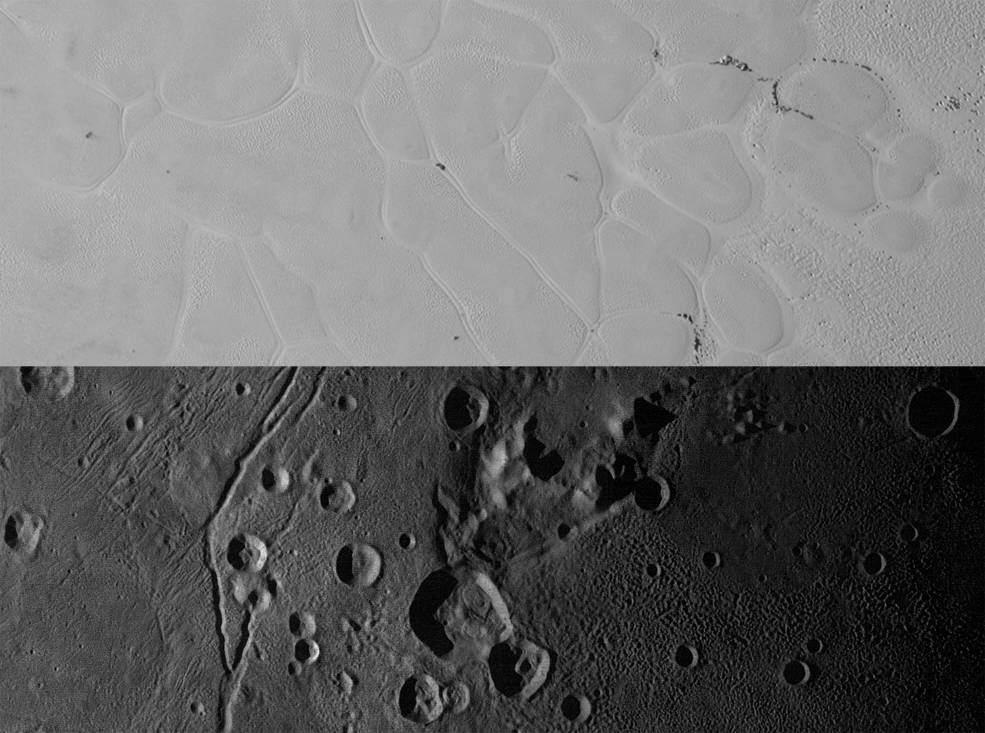 Pluto's mountains and plains