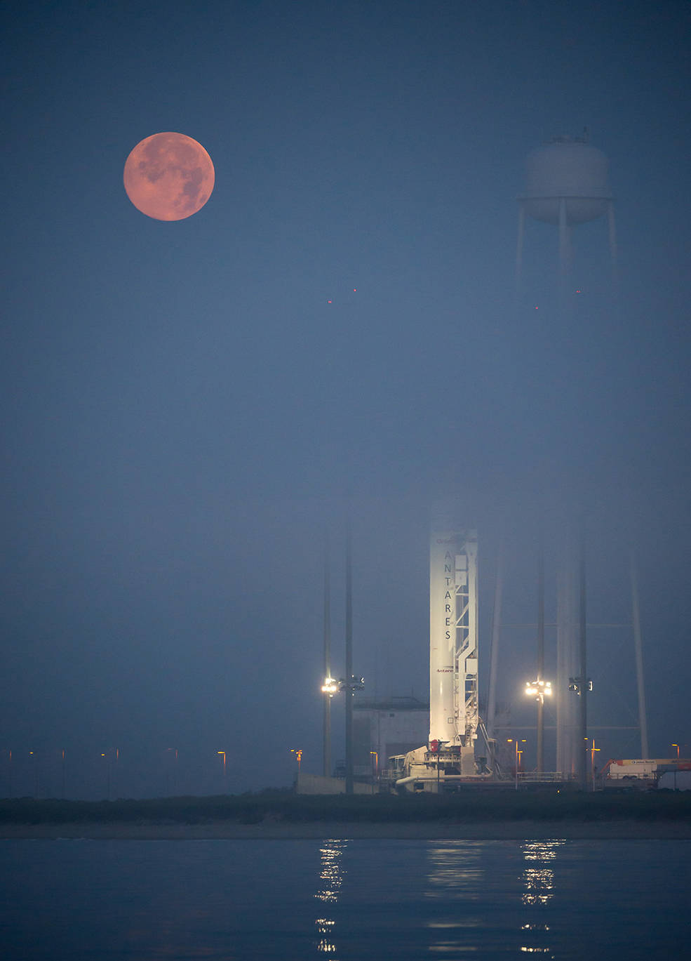 Super moon with the Antares rocket