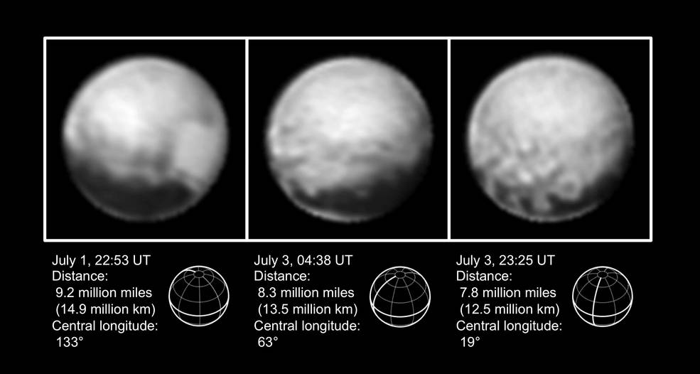 3 images of Pluto