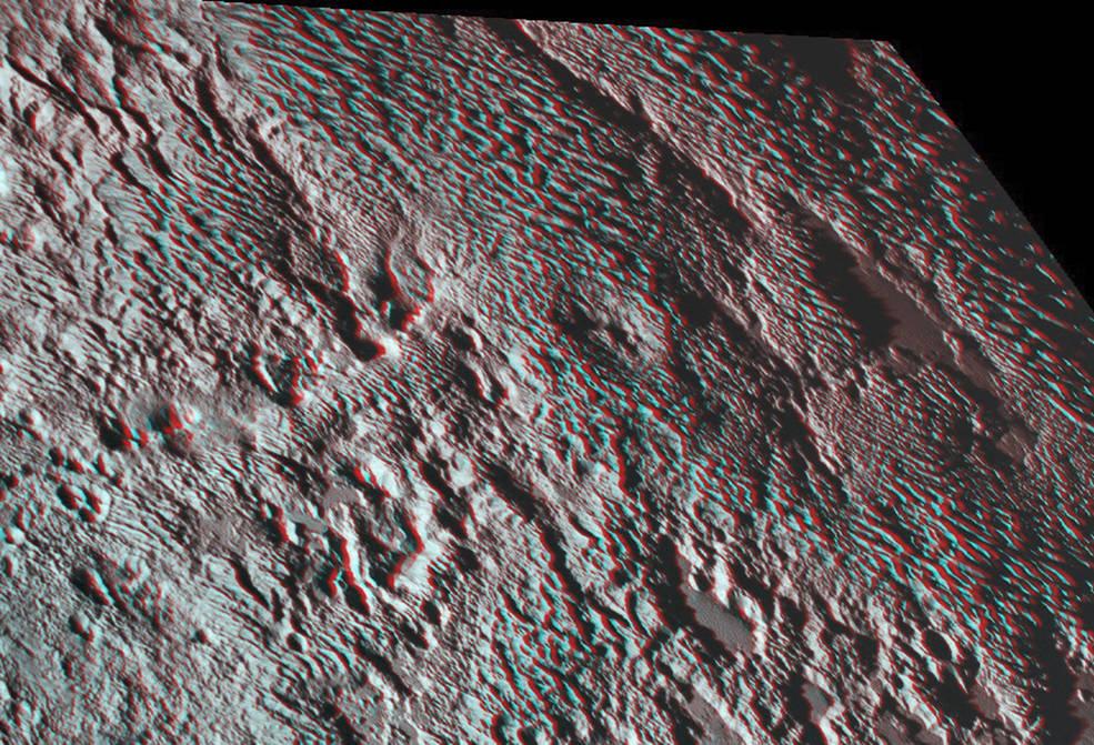 Plutos rillede terræn i 3D
