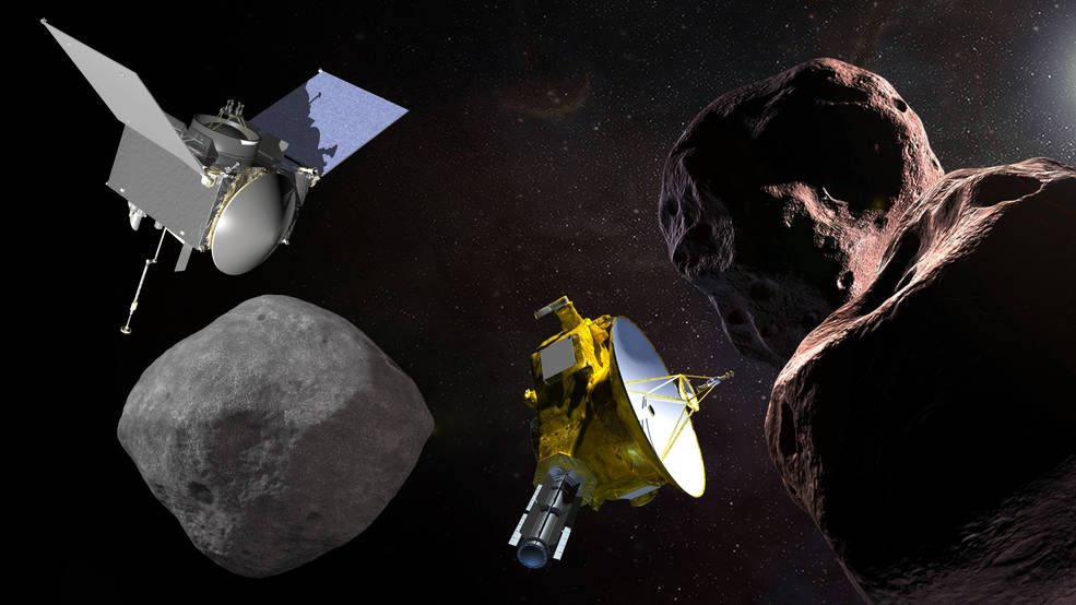 Artist's illustrations of NASA's OSIRIS-REx spacecraft with asteroid Bunnu, and New Horizon spacecraft with 2014 MU69