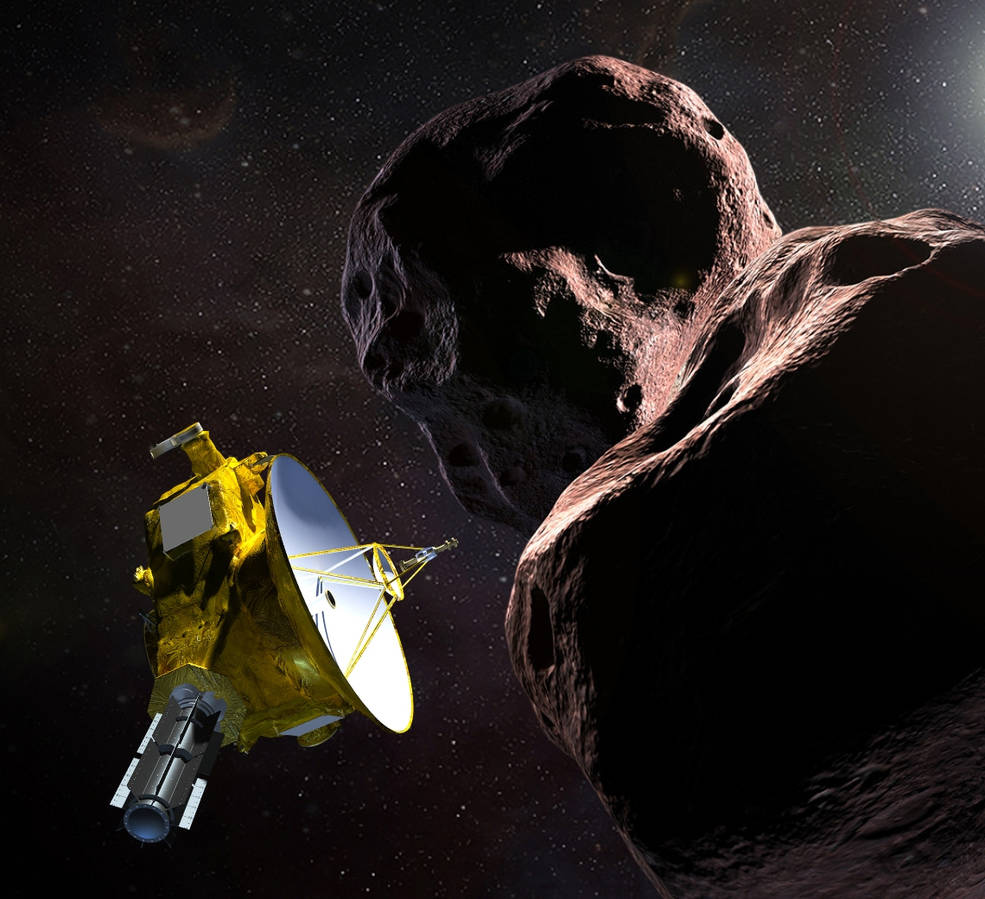 "llustration of NASA's New Horizons spacecraft encountering 2014 MU69 – nicknamed ""Ultima Thule"""
