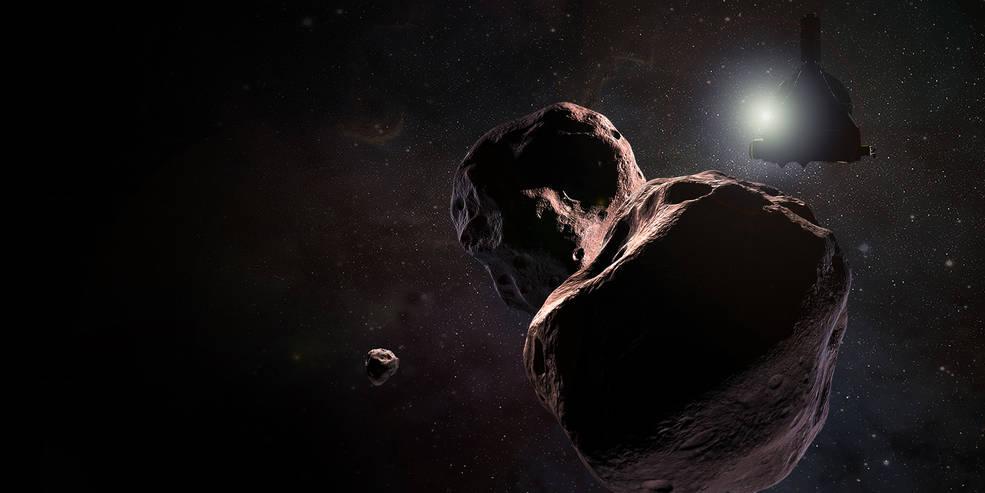 Illustration of NASA's New Horizons spacecraft encountering the Kuiper Belt object nicknamed Ultima Thule on Jan. 1, 2019
