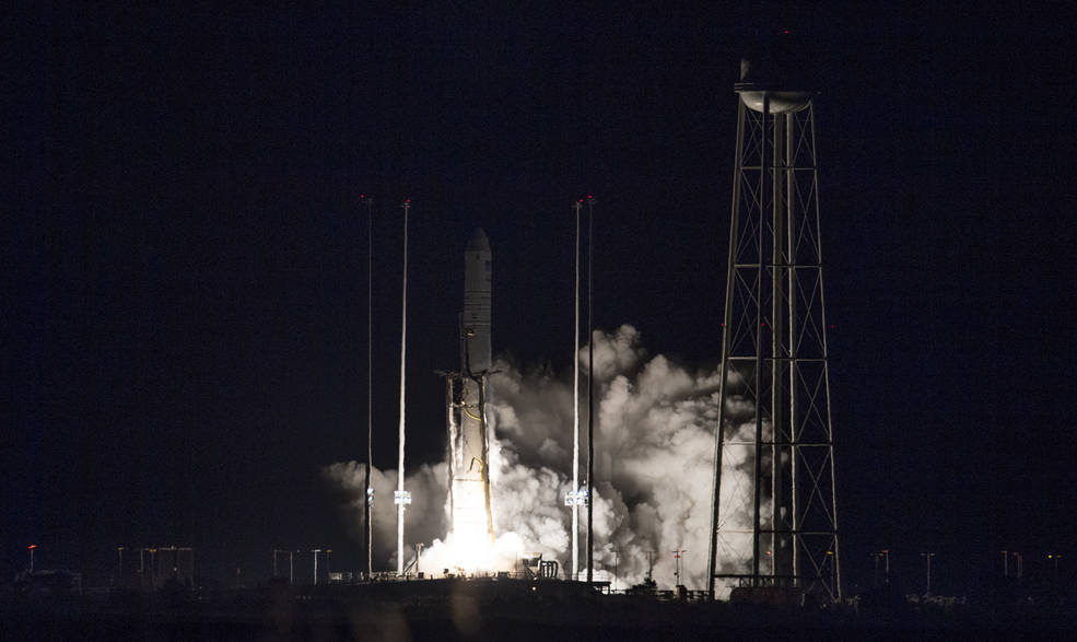 The Northrop Grumman Antares rocket, with Cygnus resupply spacecraft onboard, launches from Pad-0A, Saturday, Nov. 17, 2018.