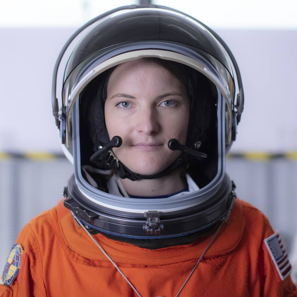 NASA astronaut candidate Kayla Barron poses for a portrait after donning her spacesuit, Friday, July 12, 2019 at NASA's Johnson Space Center in Houston, Texas.   - nhq201907120010 large - Kayla Barron Joins NASA's SpaceX Crew-3 Mission to Space Station