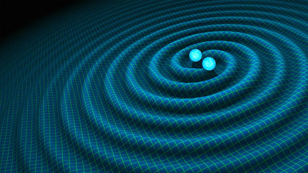 An artist's impression of gravitational waves generated by binary neutron stars.