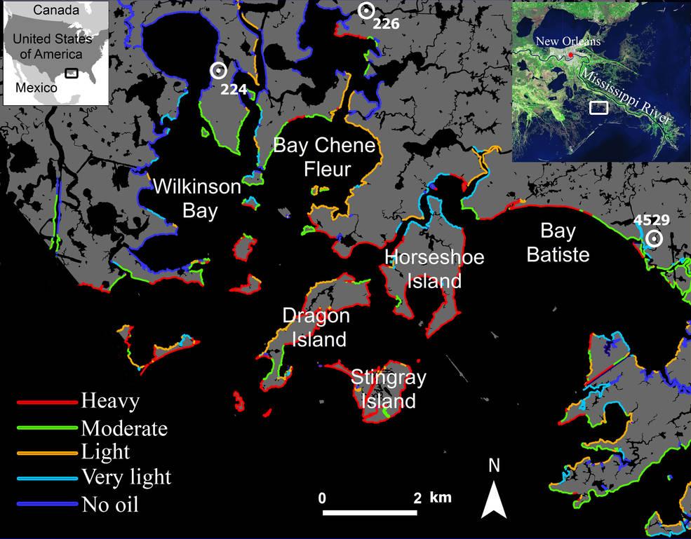Map of Northeastern Barataria Bay, Louisiana