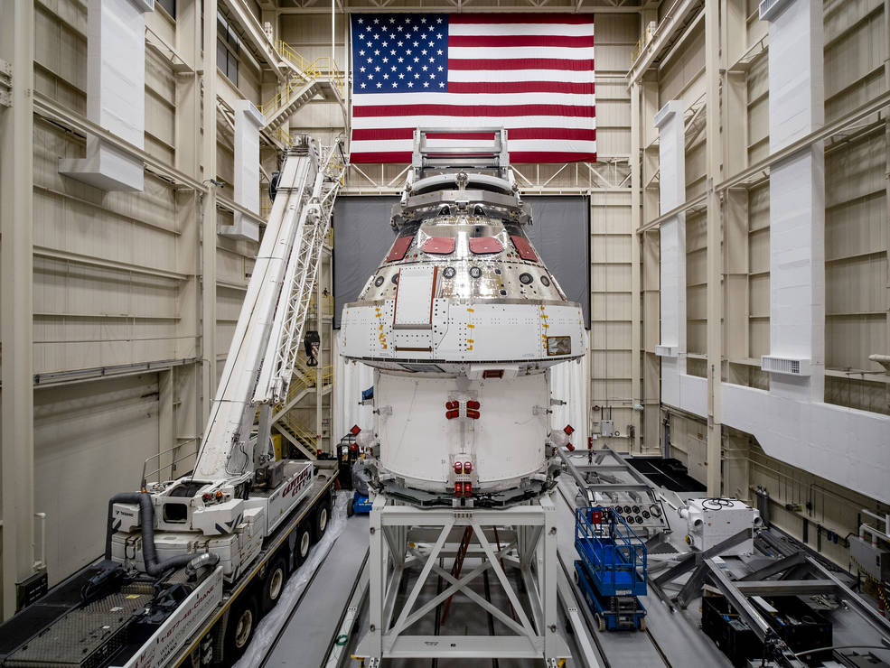 NASA's Orion spacecraft for the Artemis I mission was lifted into a thermal cage on December 2, 2020.