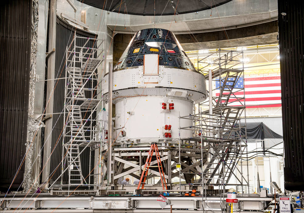 The Artemis I Orion spacecraft is prepared for the final set of environmental tests at NASA Glenn Research Center