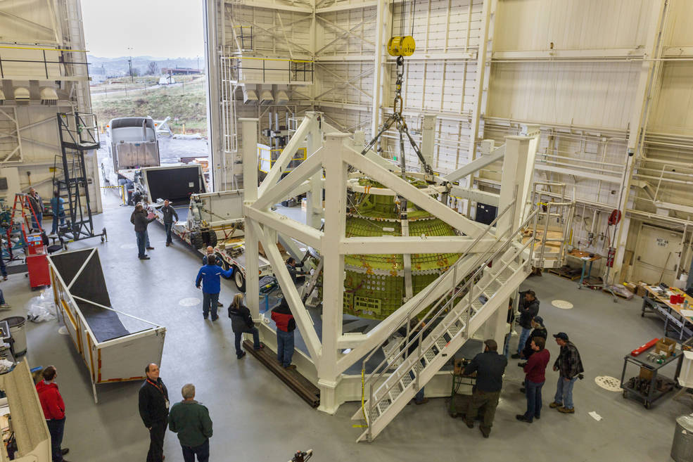 The Orion Exploration Mission-1 crew module structural test article was delivered to Lockheed Martin near Denver on April 27.