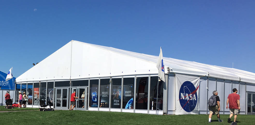 The NASA Pavilion in Aviation Gateway Park is the hub for displays and hands-on activities