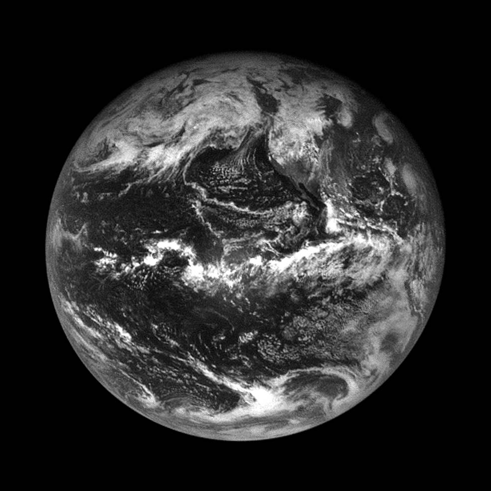 black and white image of earth