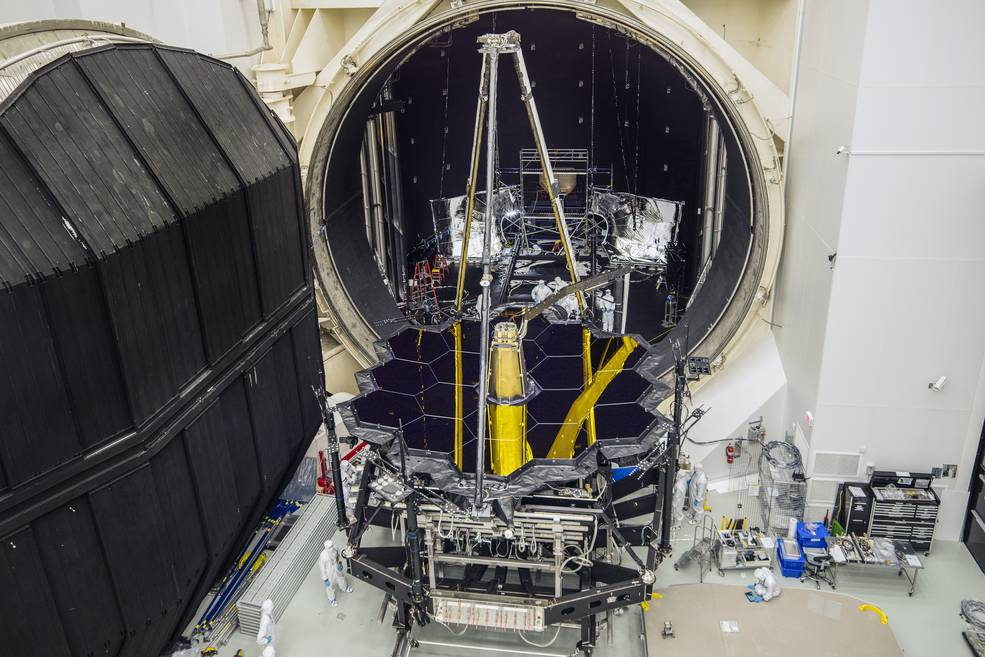 NASA's James Webb Space Telescope emerged from Chamber A at NASA's Johnson Space Center in Houston on Dec. 1, 2017.