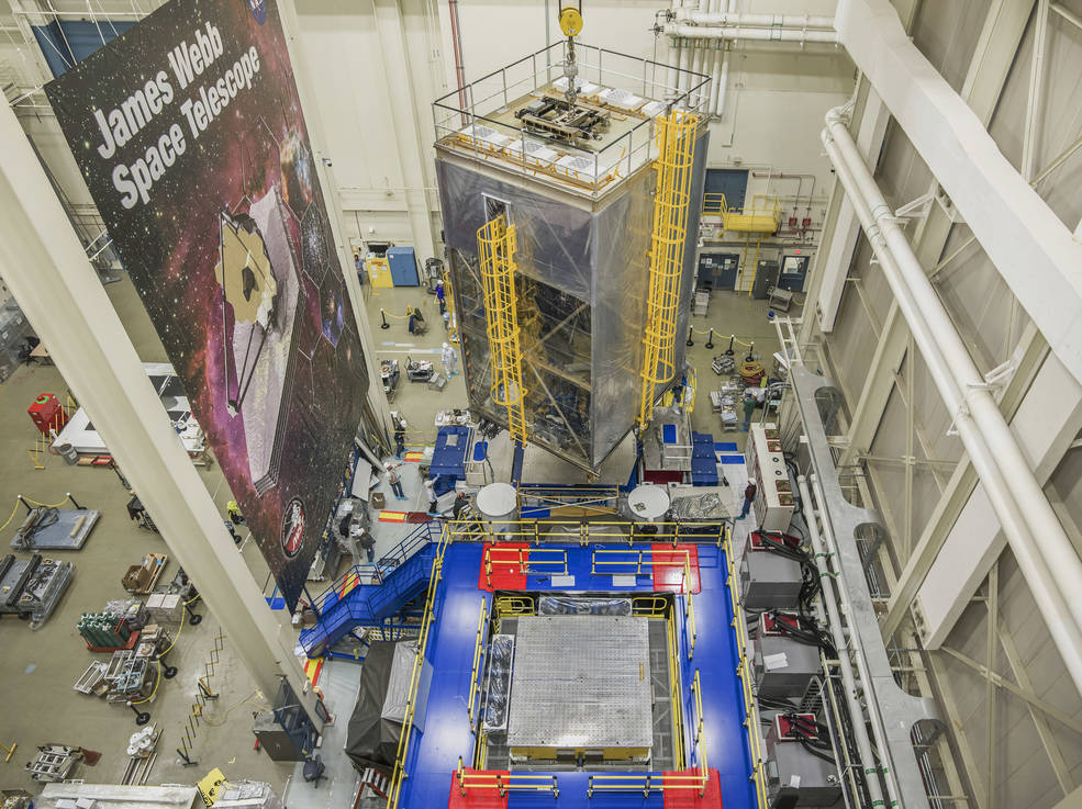 NASA engineers and technicians perform vibration testing on the James Webb Space Telescope.