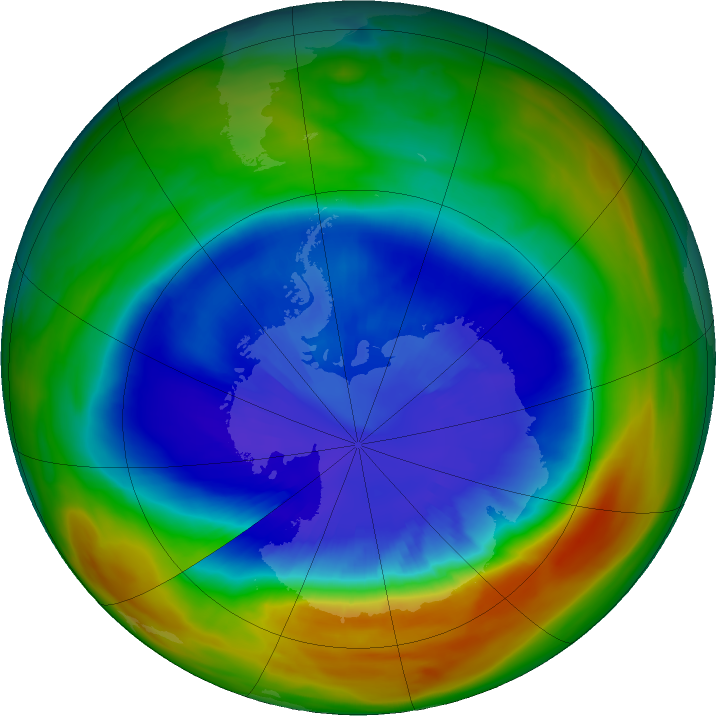 (NASA caption) At its peak on Sept. 11, 2017, the ozone hole extended across an area nearly two and a half times the size of the continental United States. The purple and blue colors are areas with the least ozone. Credits: NASA/NASA Ozone Watch/Katy Mersmann