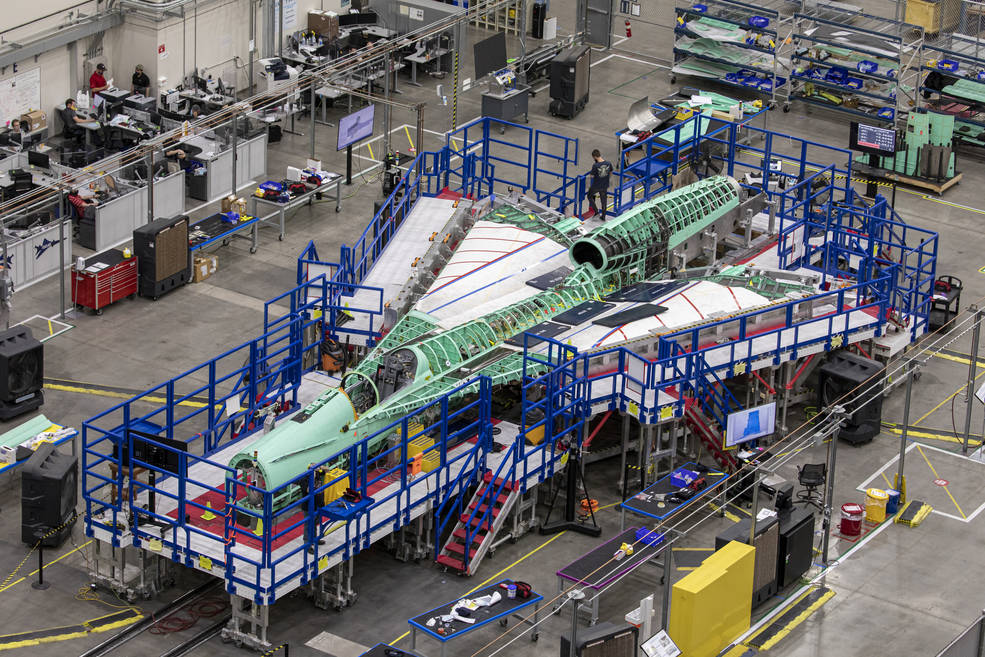 The team at Lockheed Martin Skunk Works in Palmdale, California, merged the major sections of the X-59 Quiet SuperSonic Technology aircraft