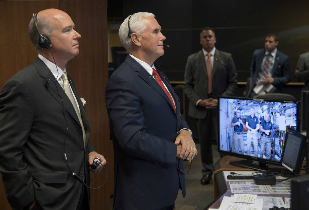 Rep. Robert Aderholt, R-Alabama, and Vice President Mike Pence talk with Expedition 53 crew members
