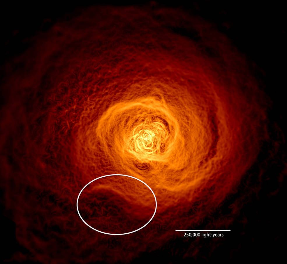 X-ray image of hot gas in Perseus galaxy cluster