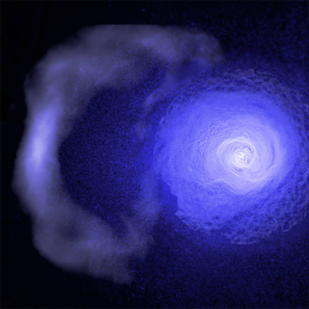 "A ""cold front"" hurtling through the Perseus galaxy cluster has been studied using data from the Chandra X-ray Observatory."
