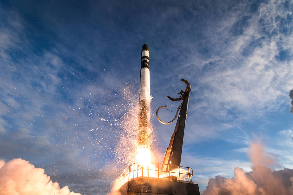 Rocket Lab's Electron rocket lifts off from Launch Complex 1 for the NASA ELaNa19 mission.