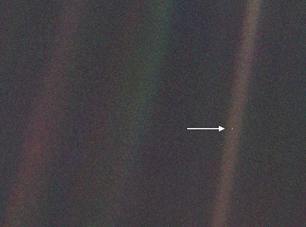 This image, taken by NASA's Voyager 1 spacecraft from beyond the orbit of Neptune, shows planet Earth
