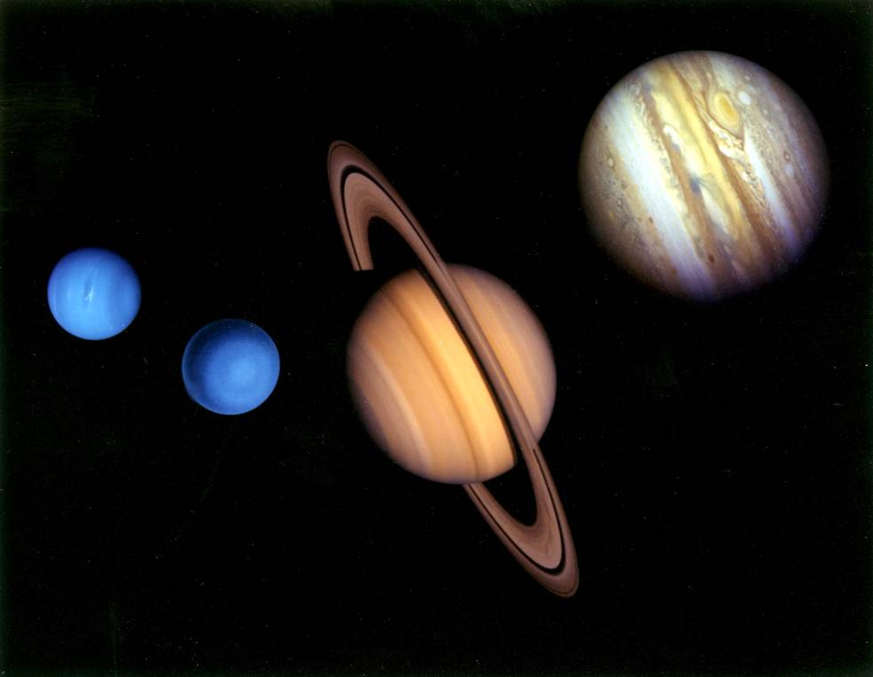 Montage of images of the planets visited by Voyager 2