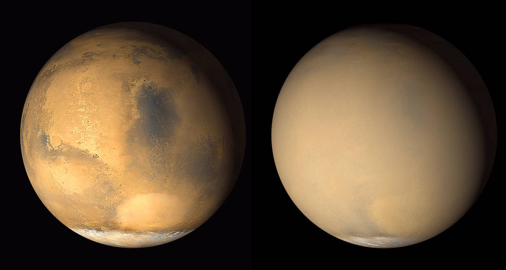 Two 2001 images from the Mars Orbiter Camera
