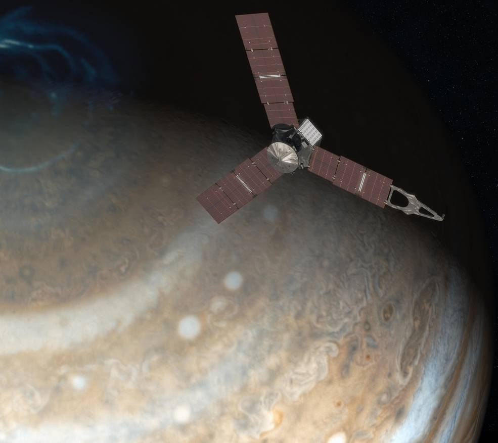 This artist's rendering shows NASA's Juno spacecraft above the north pole of Jupiter