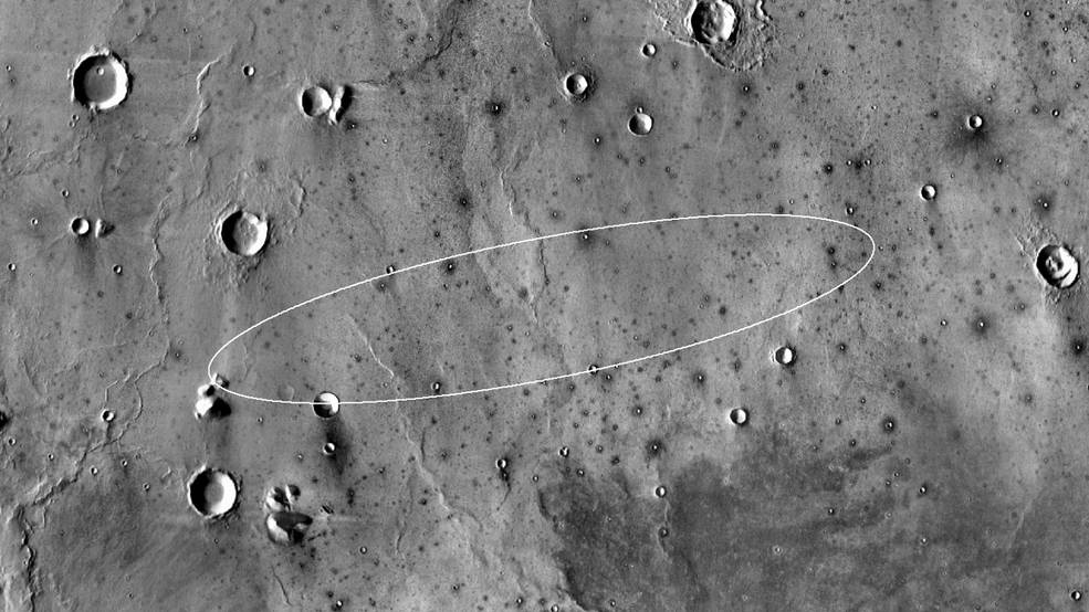 Image from the Mars Odyssey orbiter took this image of the target landing site for NASA's InSight lander.