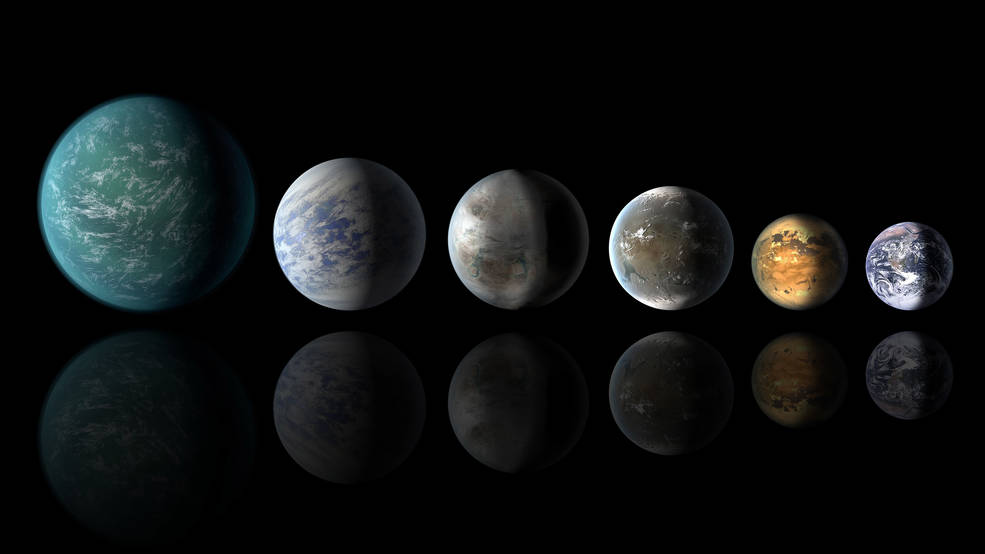 This artist's conception of a planetary lineup shows habitable-zone planets with similarities to Earth