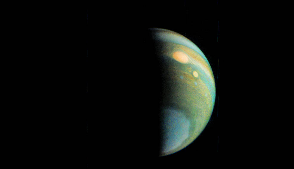 False color view of Jupiter's polar haze