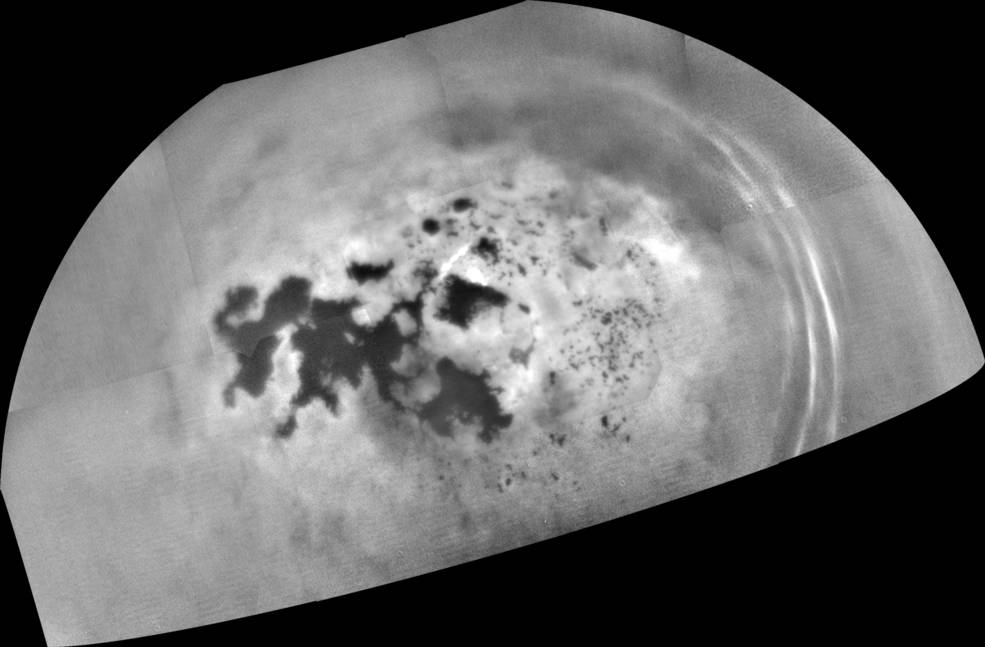 Cassini captured this mosaic of images showing the northern lakes and seas of Saturn's moon Titan