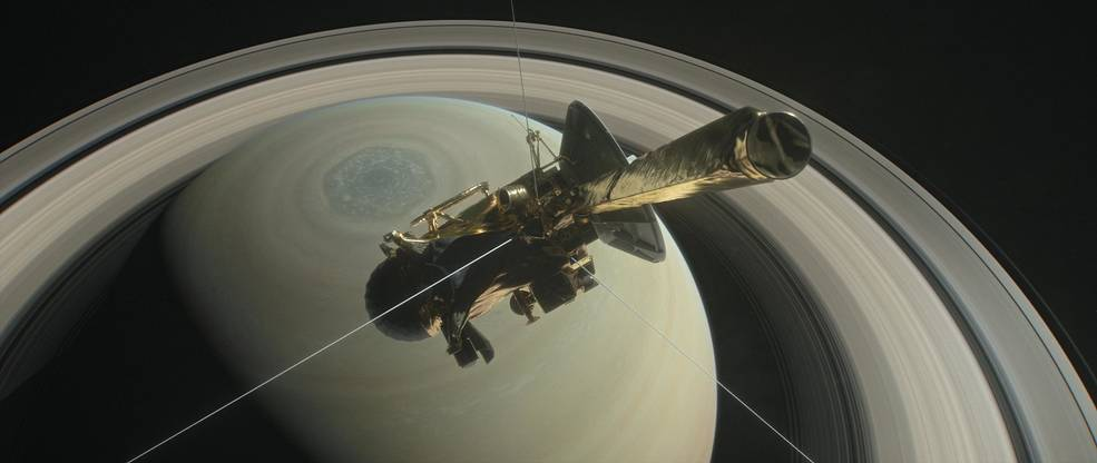 Artist's illustration of NASA's Cassini spacecraft at Saturn