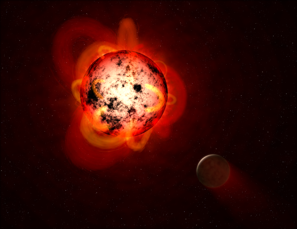 Illustration shows a red dwarf star orbited by a hypothetical exoplanet