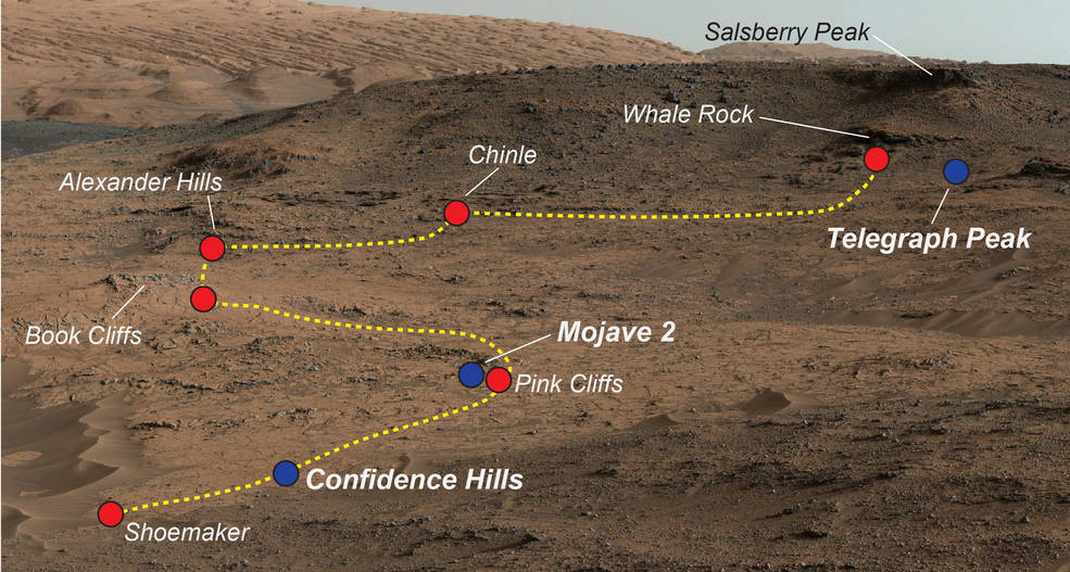 Curiosity Mars rover mudstone outcrop area called