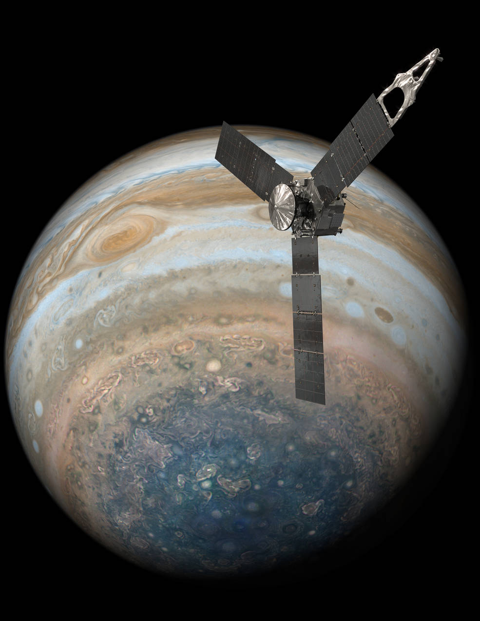 This illustration depicts NASA's Juno spacecraft soaring over Jupiter's south pole.Credits: NASA/JPL-CaltechFull image and caption