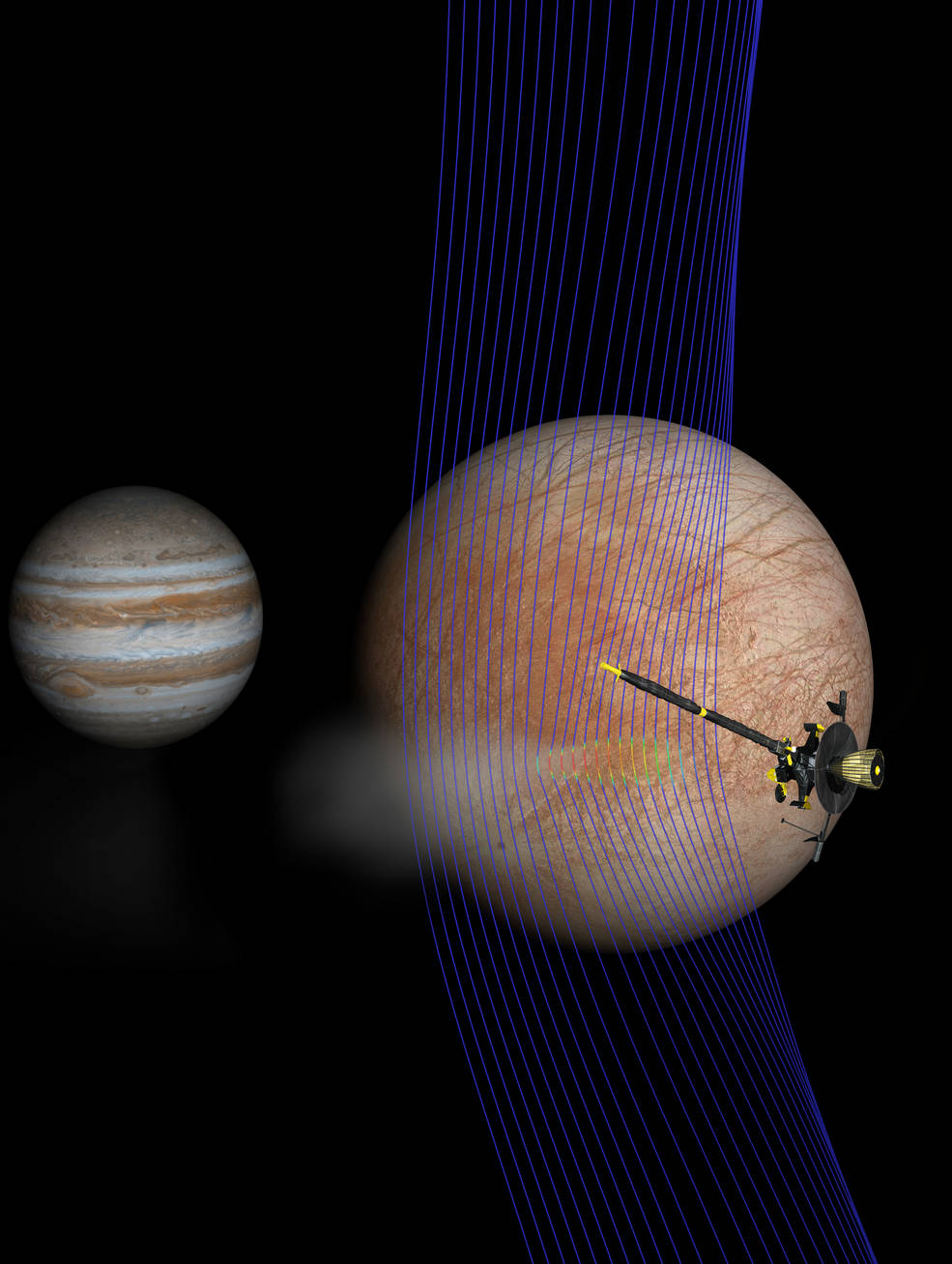 Artist's illustration of Jupiter and Europa with the Galileo spacecraft after its pass through a plume erupting from Europa