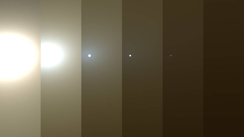 This series of images shows simulated views of a darkening Martian sky