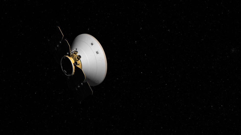 This artist's concept shows the InSight spacecraft, encapsulated in its aeroshell, as it cruises to Mars