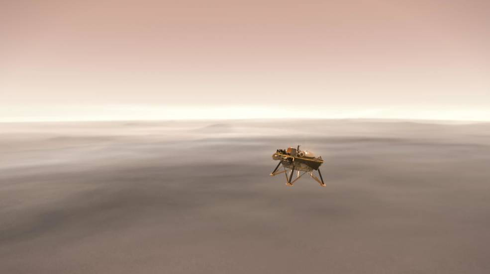NASA's InSight lander descending toward the surface of Mars.